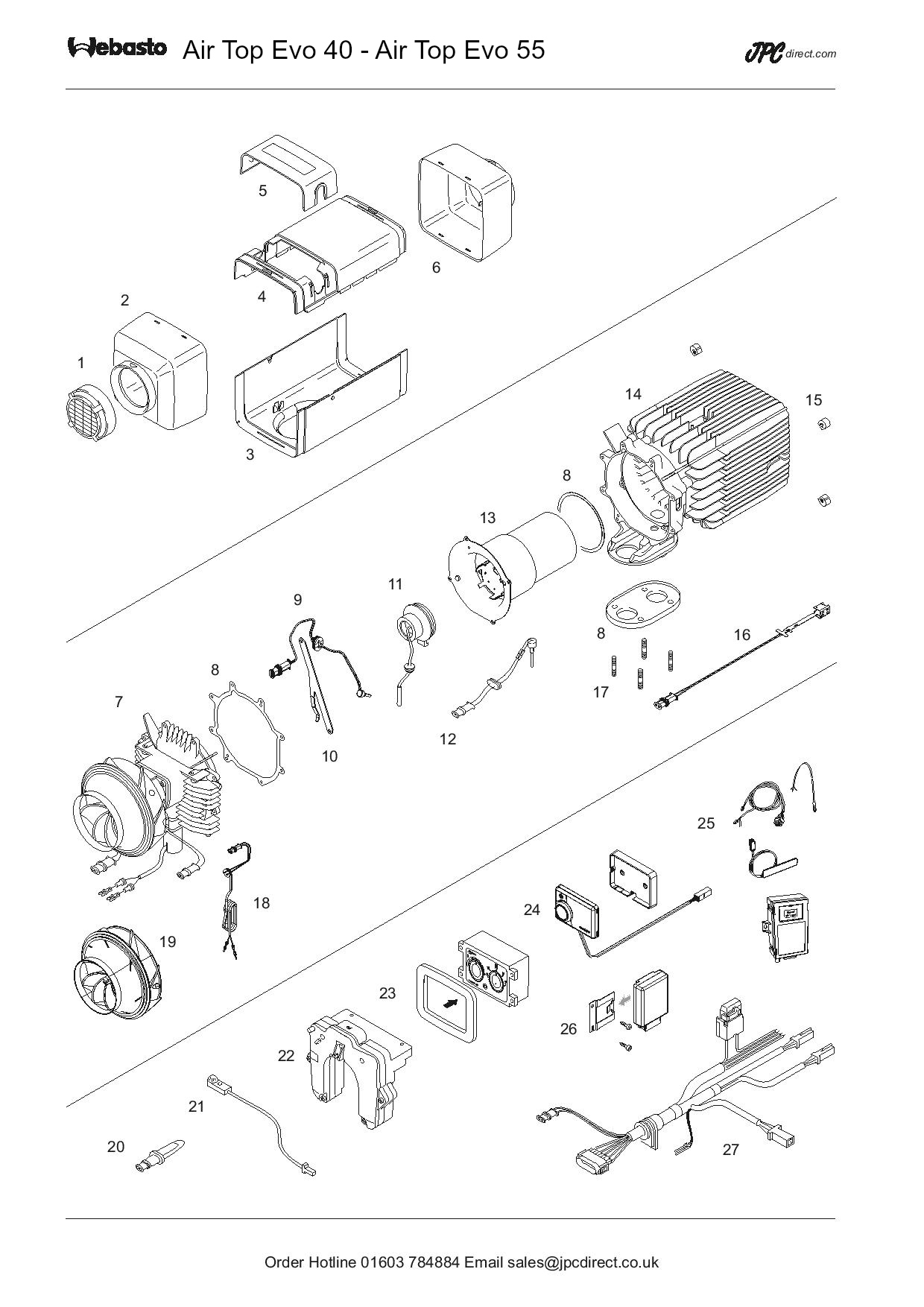 Air Top Evo 40-55 Spare Parts Diagram