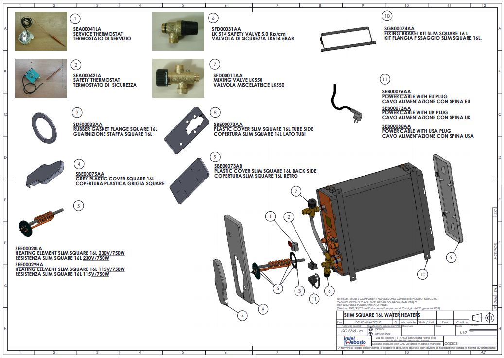 Isotemp Slim Square 16 Water Heater Spare Parts