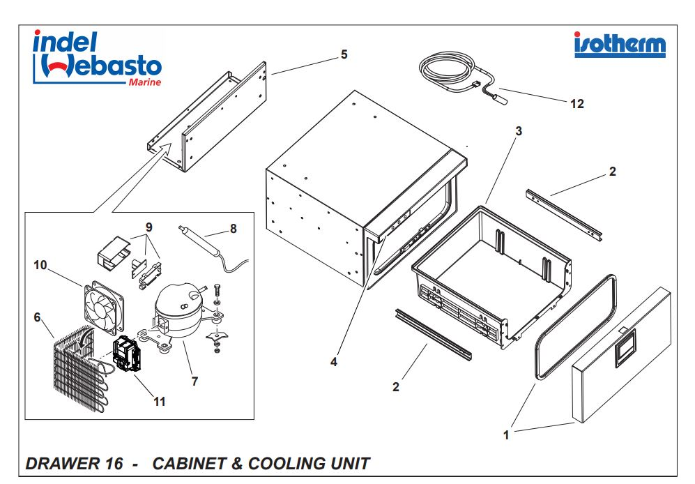 Isotherm Drawer 16 Spare Parts