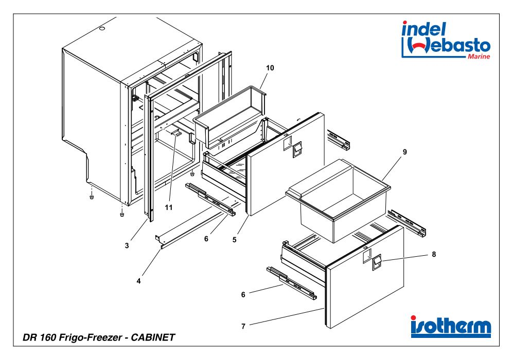 Isotherm Drawer 160 Inox Spare Parts