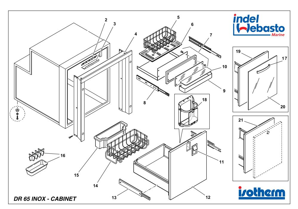 Isotherm Drawer 65 Inox Spare Parts