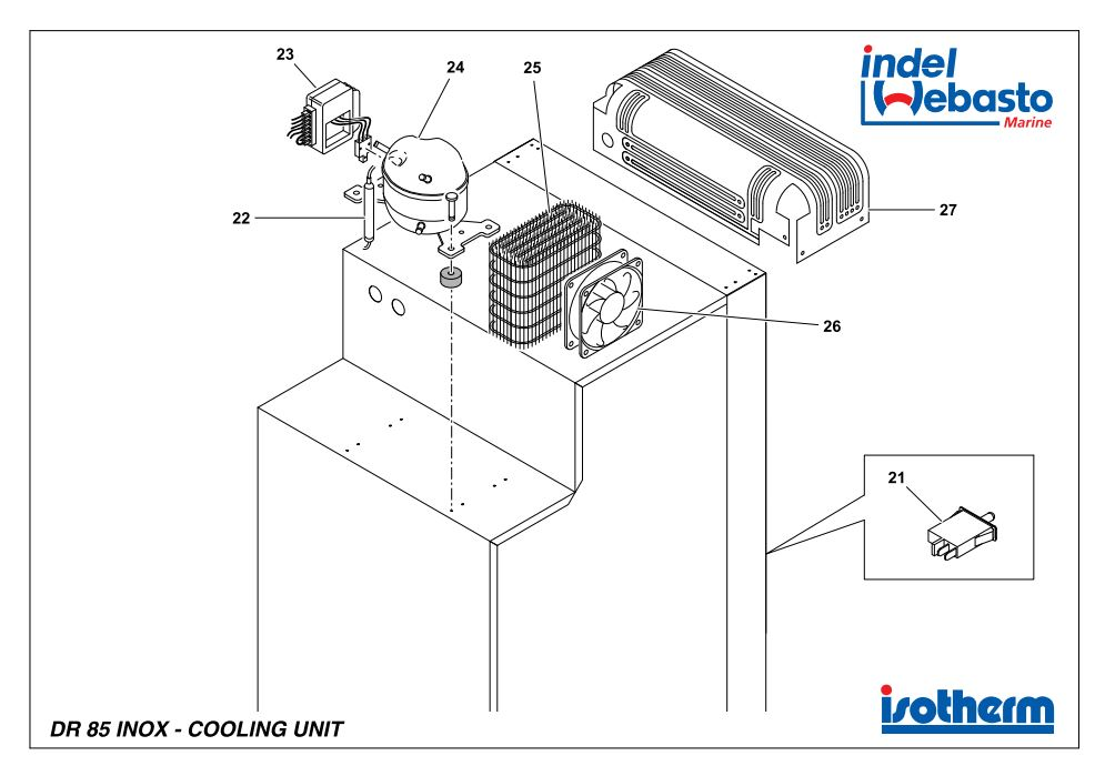 Isotherm Drawer 85 Inox Spare Parts 2