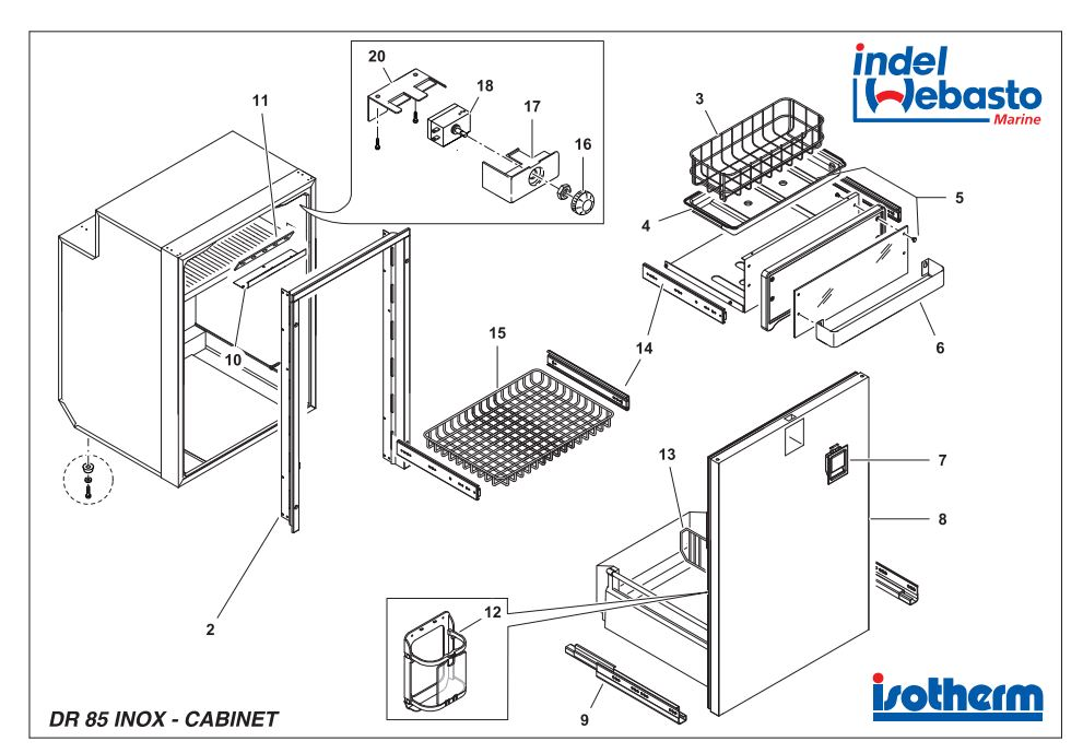 Isotherm Drawer 85 Inox Spare Parts