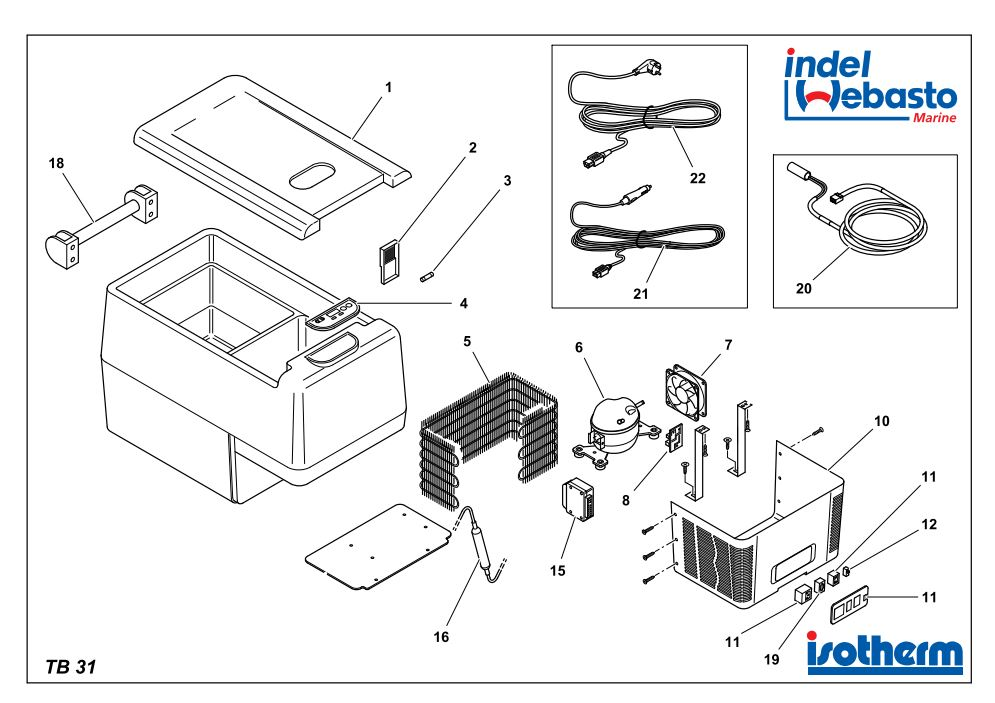 Isotherm Travel Box 31 Spare Parts