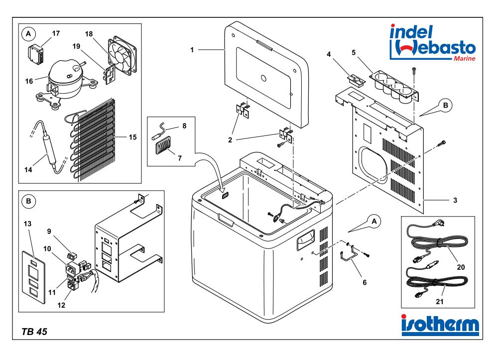 Isotherm Travel Box 45 Spare Parts